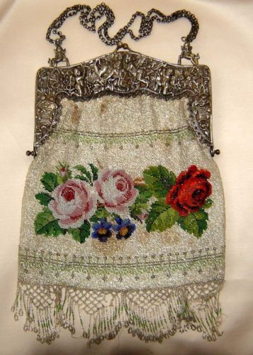 Eclectic ... like me: Antique Beaded Bag. 800 silver frame with ornate roses and...