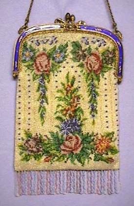 Floral with Blue Enameled & Jeweled Frame