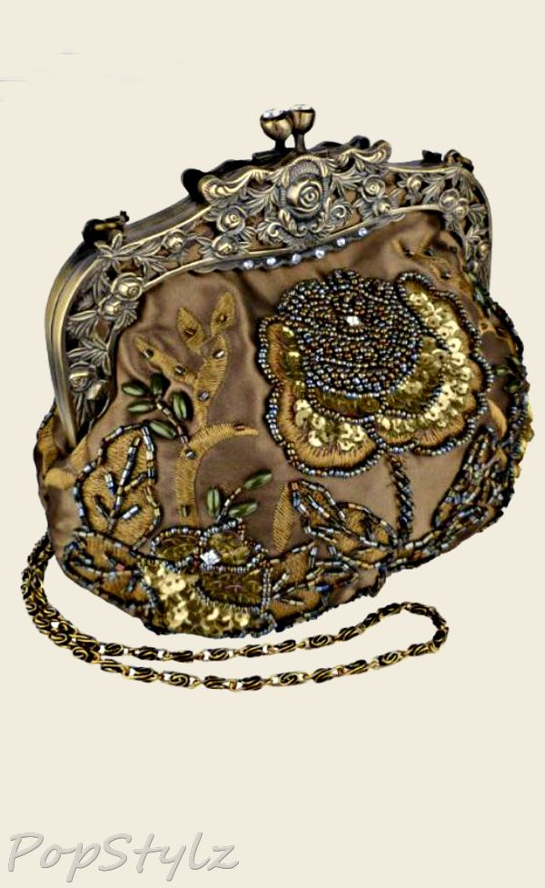 MG Collection Antique Beaded Rose Handbag