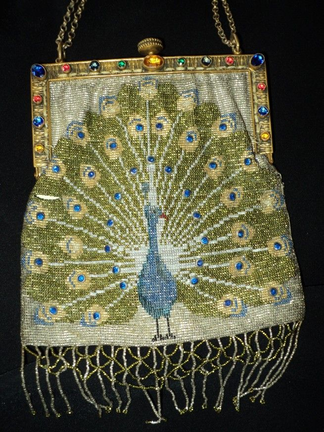 Meticulously handcrafted steel cut beaded Peacock Purse Art Deco French Period 1...