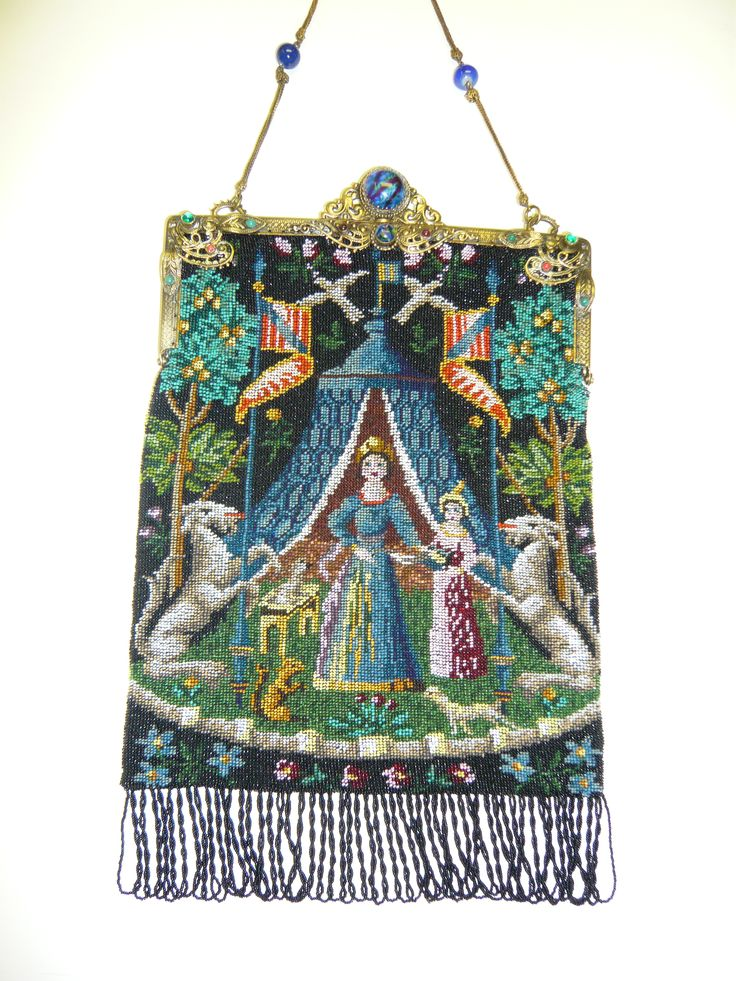 Micro beaded figural purse based on antique tapestry - collection of Kathy Gunde...