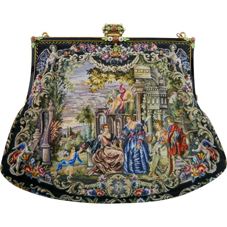 Petit Point Figural Purse