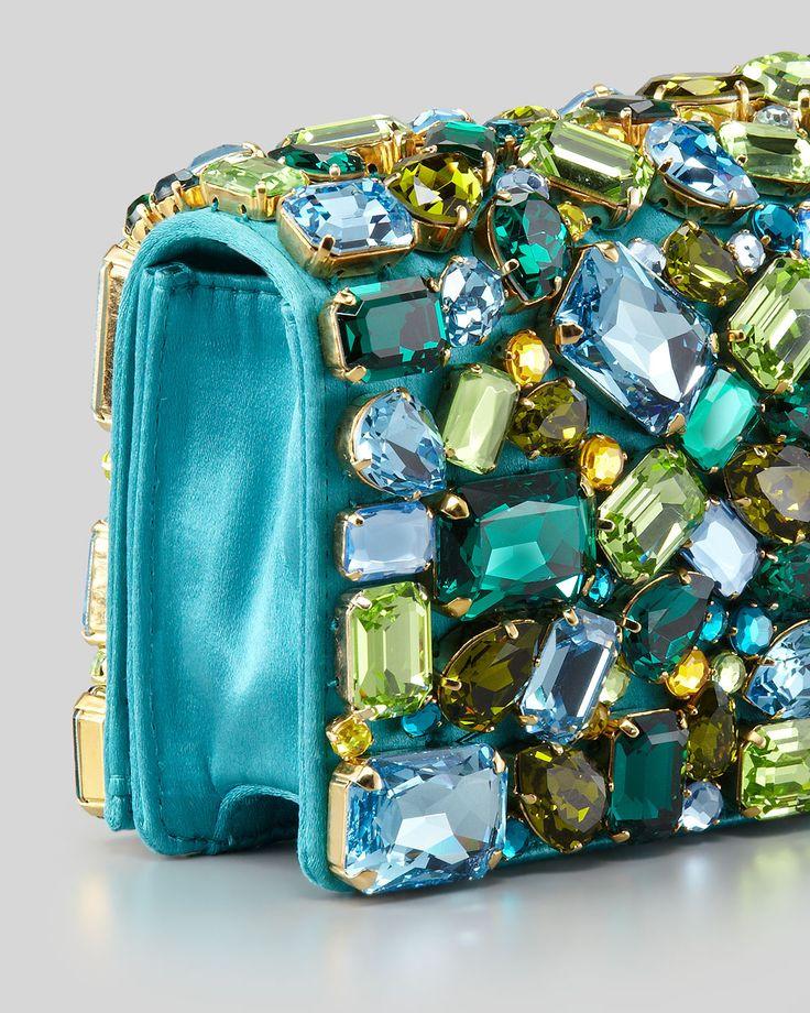 Prada Jeweled Satin Clutch Bag, Turquoise - Neiman Marcus