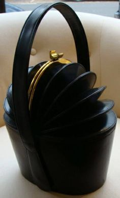RARE& VINTAGE Black Concertina Top Hat Box Purse