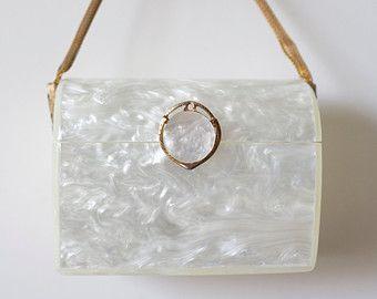 VIntage WILARDY Lucite Purse Handbag White Pearl 1950's Rockabilly VLV Mad M...