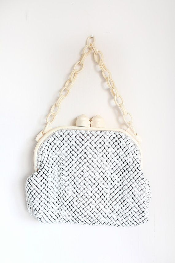 vintage 1930s Whiting and Davis white mesh purse with celluloid handles // by Tr...