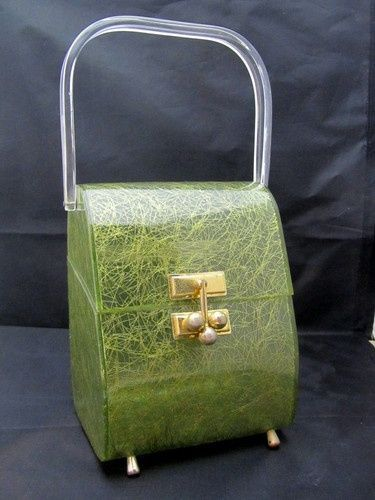 vintage Myles lucite purse | Vintage MYLES MIAMI LUCITE CONFETTI GREEN PURSE HAN...