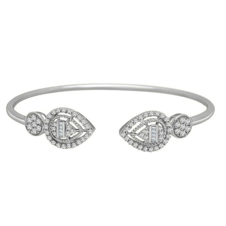 0.72CT Round Cut Diamond Solid 18K White Gold Pear Shape Cluster Bangle Bracelet...