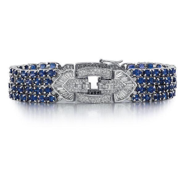 18k White Gold 3 1/6ct TDW Diamond and Sapphire Bracelet (G-H, SI1-SI2)
