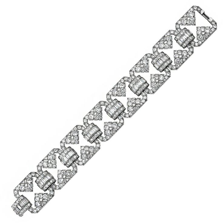 1stdibs - UDALL & BALLOU Art Deco Diamond Platinum Bracelet. explore items from ...