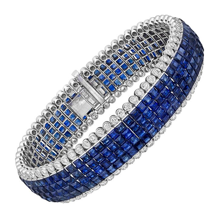 Invisible-Set Sapphire and Diamond Bracelet