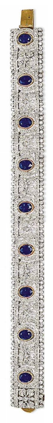 A SET OF SAPPHIRE AND DIAMOND JEWELLERY The necklace designed as a diamond-set o...