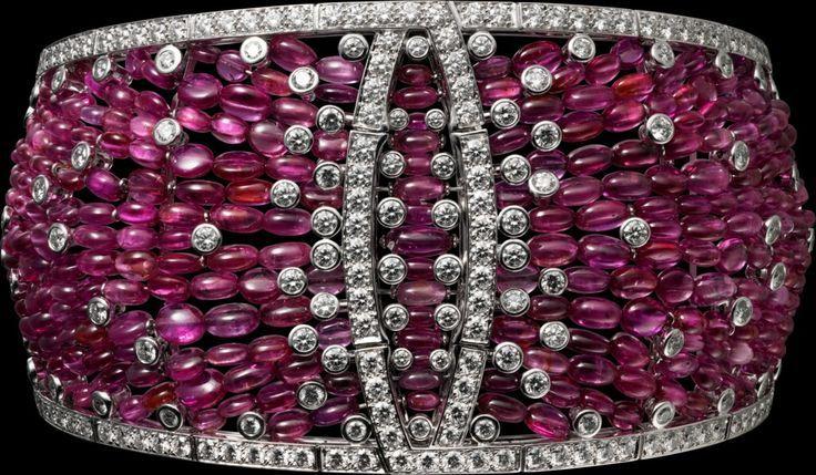 "Best Diamond Bracelets : CARTIER. ""Disa"" Bracelet – white gold, ruby beads..."