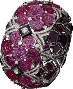 Best Diamond Bracelets : Cartier Bracelet Haute Joaillerie in platinum with rubi...