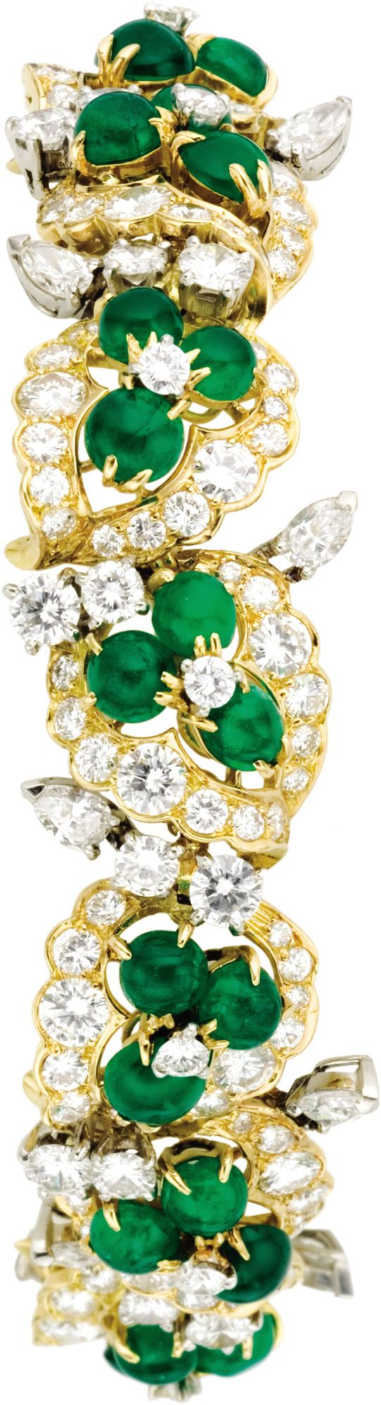 Diamond, Emerald, and Gold Bracelet, French, ht