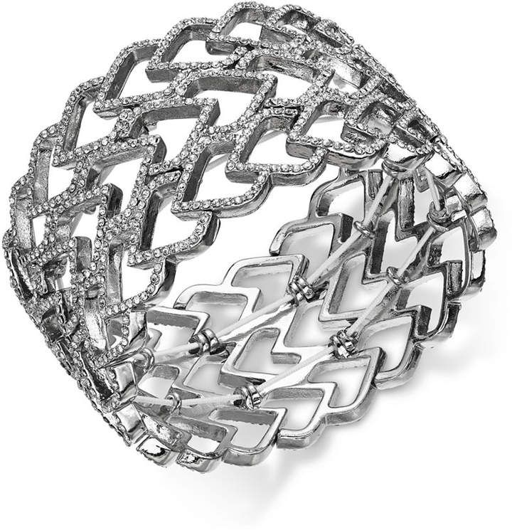 I.N.C. Silver-Tone Pavé Heart Wide Stretch Bracelet, Created for Macy's