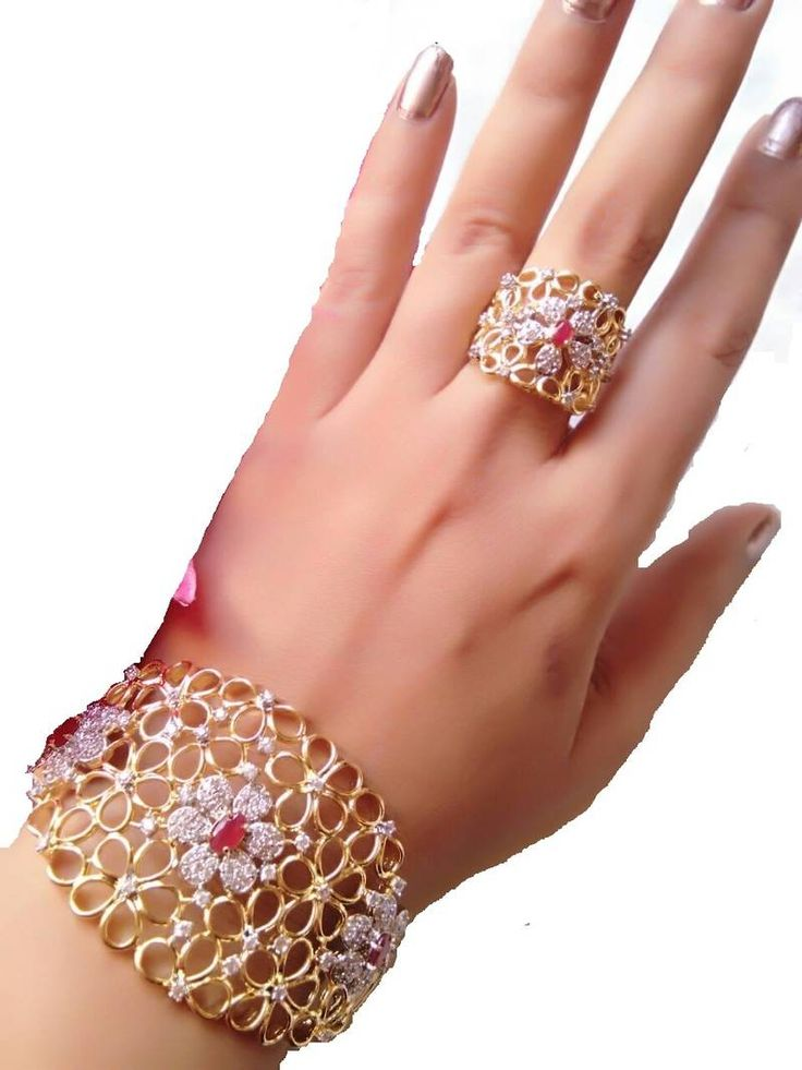 M creation gold plated bracelet and ring for women::Girls
