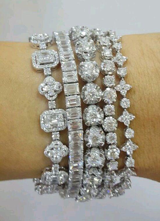 Set of 5 tennis bracelets solid 925 sterling silver handmade custom length new #...