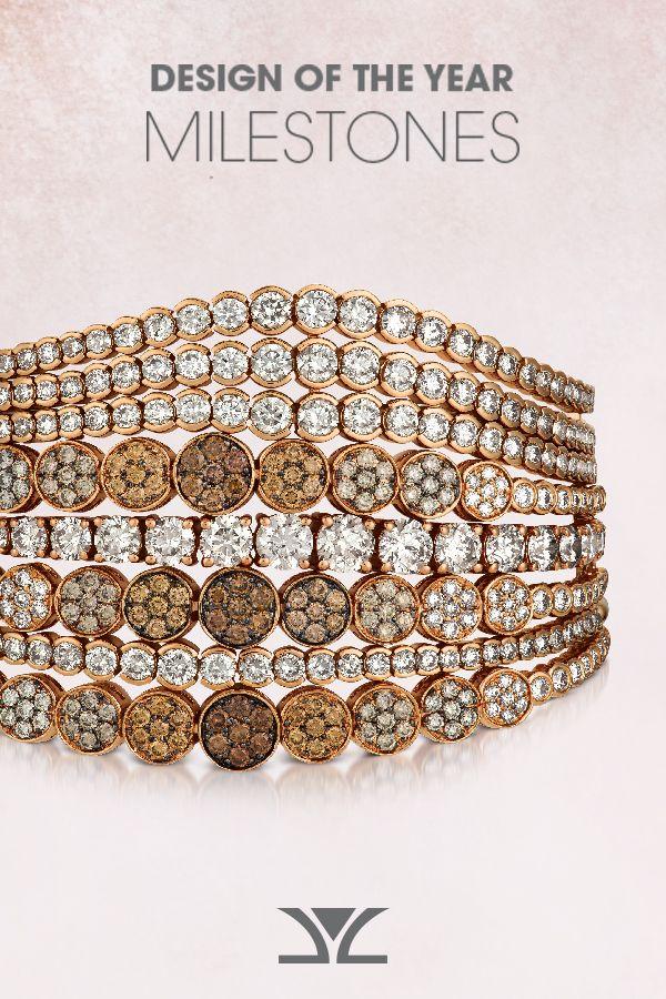 Stack of Bolo Bracelets YRCZ 56- 14K Strawberry Gold® Bolo Bracelet with Nude D...