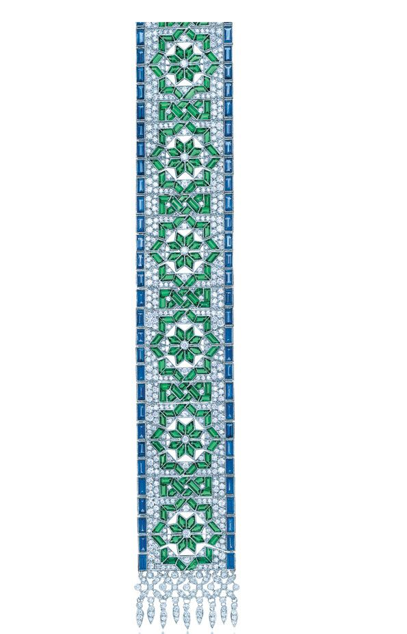 TIFFANY & CO. Kilim bracelet with diamonds, sapphires and emeralds in platinum.