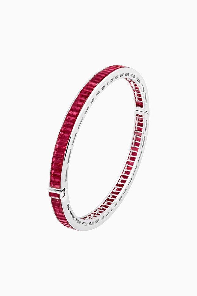"VCA. ""Chemin de rubis"" - Bracelet - or blanc, rubis, diamants #VanCleefArpel..."