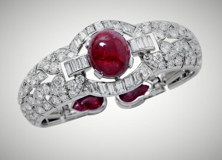 rench Art Deco LFG Certified Natural Burmese Ruby Diamond Platinum Bracelet (jm)
