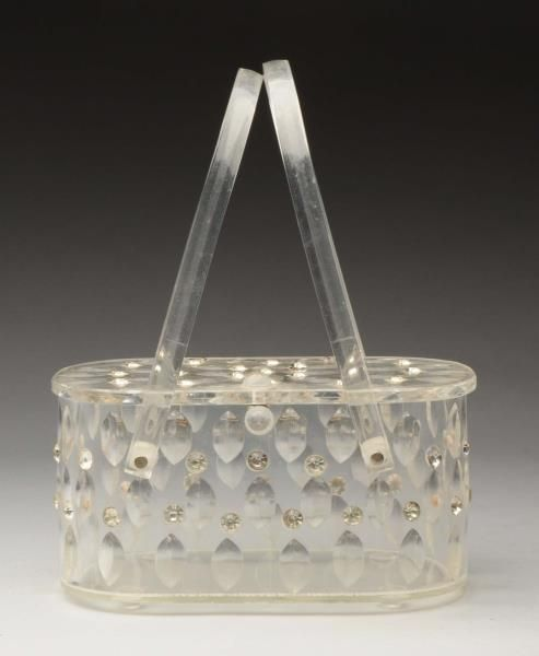 Lot # : 988 - Llewellyn Lucite Purse with Jewels.
