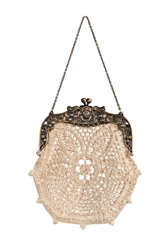 SAMPLE- Bette hand-crochet lace retro purse intricate beaded vintage inspired 20...
