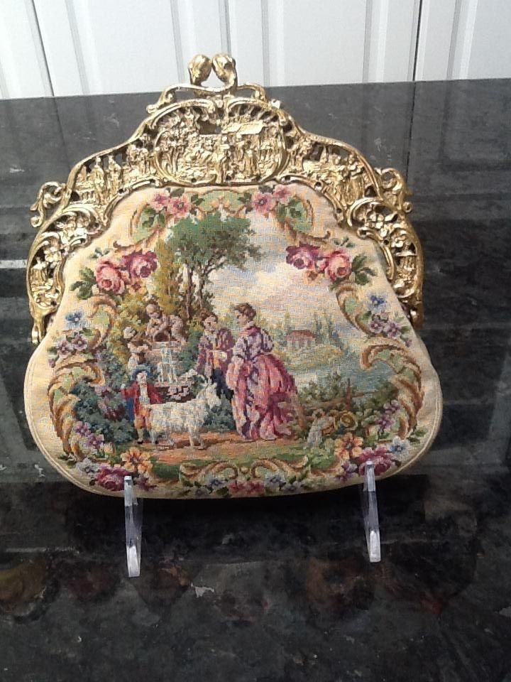 Vintage Scenic Two Sided Micro Petit Point Purse with Gilded Frame 1940s #vintag...