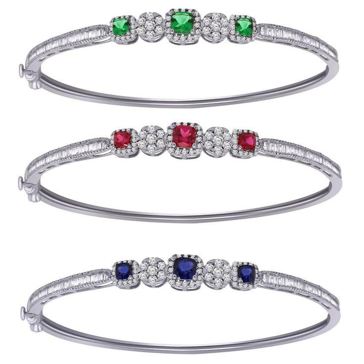 10K White Gold 0.79 Ct Genuine Diamond & Gemstone 3-Stone Halo Bangle Bracelet #...