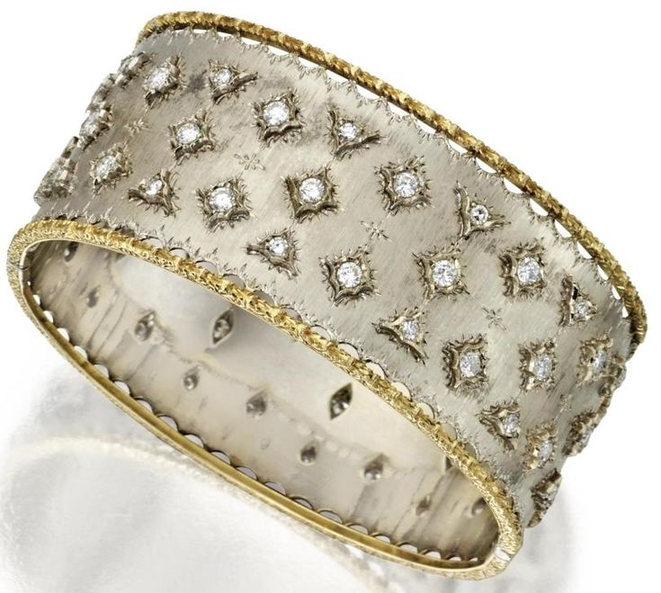 18 karat gold and diamond bangle-bracelet, Buccellati. Round and single-cut diam...