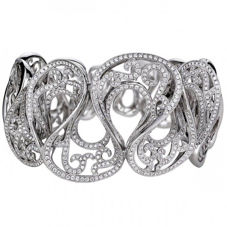 18K white gold bangle Adorned with premium cut round diamonds totaling 5.4ct by ...