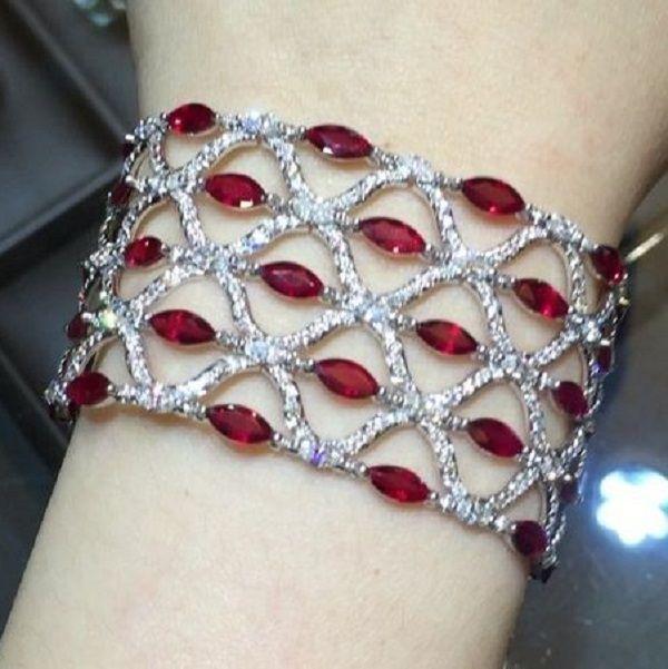 Best Diamond Bracelets : Marquise Ruby and Diamond Bracelet