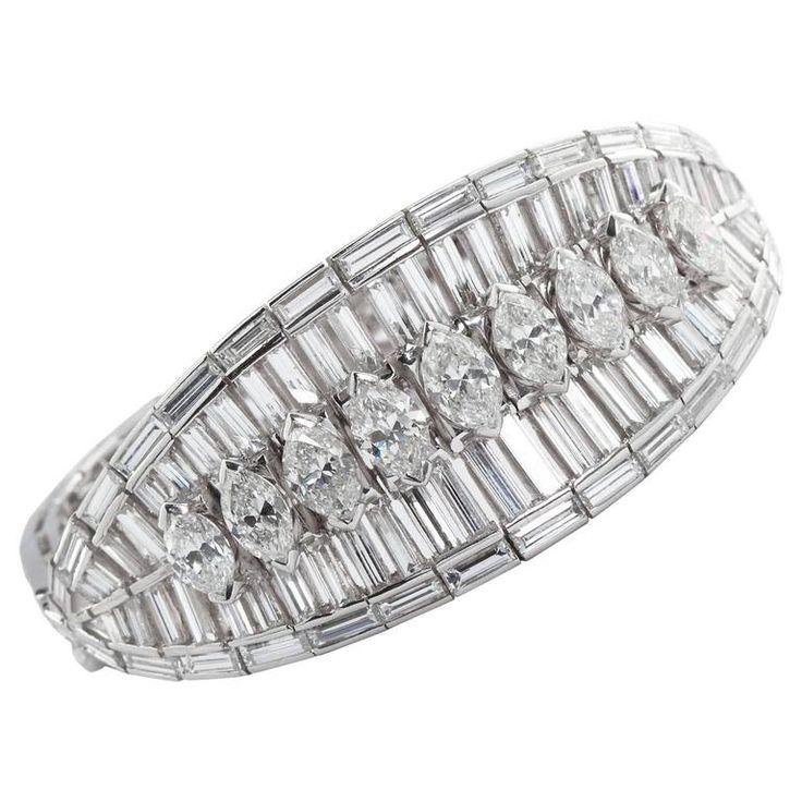 Extraordinary 40 Carat Fancy Cut Diamond Bracelet .