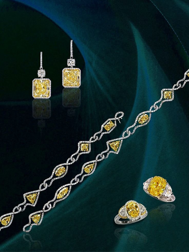 Fancy intense yellow diamond set from the Dehres collection