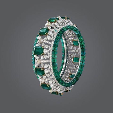 Zambian emeralds, diamonds and pearl bangle bracelet.