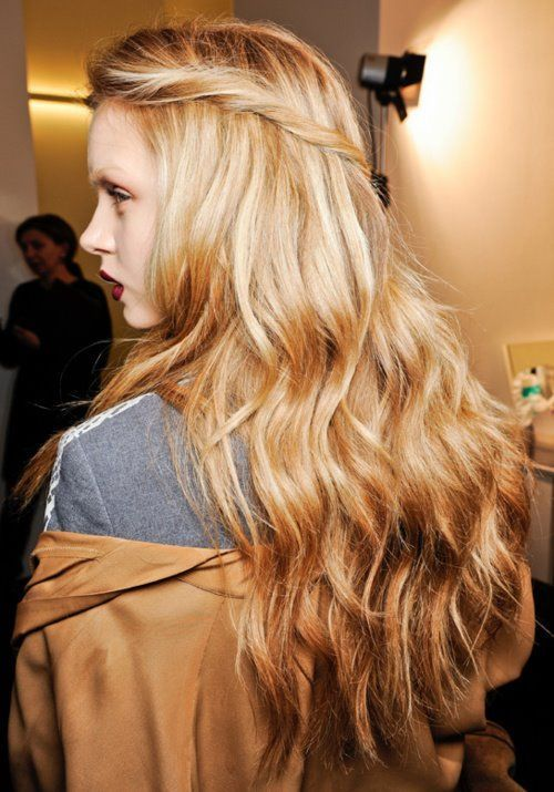 Beautiful pulled-back hair with loose waves #BestNightEver