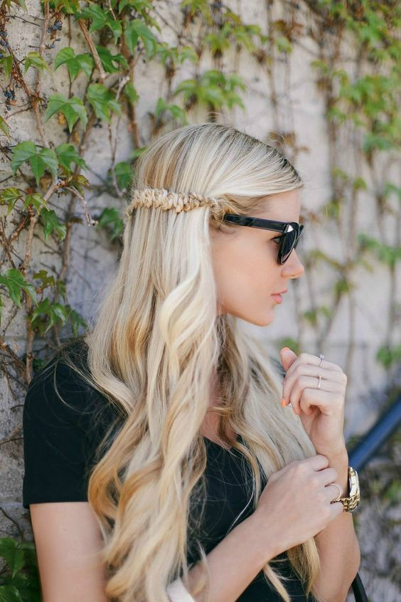 Snake Braid Tutorial. Long hair with a headband. Waves. Afternoon look. Really l...