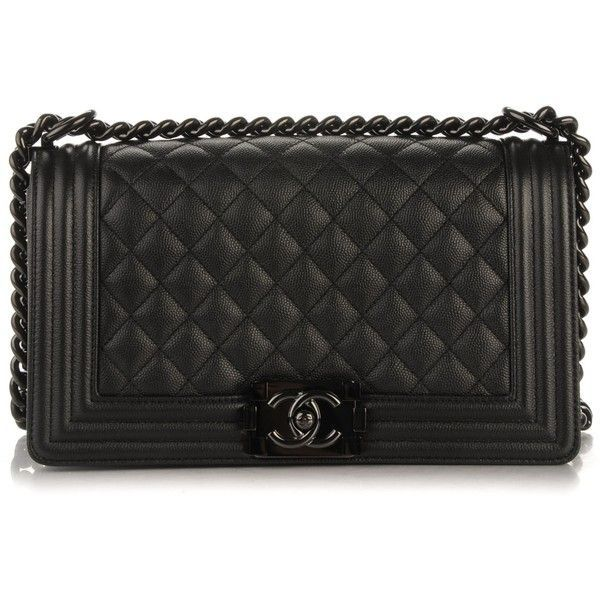 CHANEL Caviar Quilted Medium Boy Flap So Black ❤️ liked on Polyvore featurin...