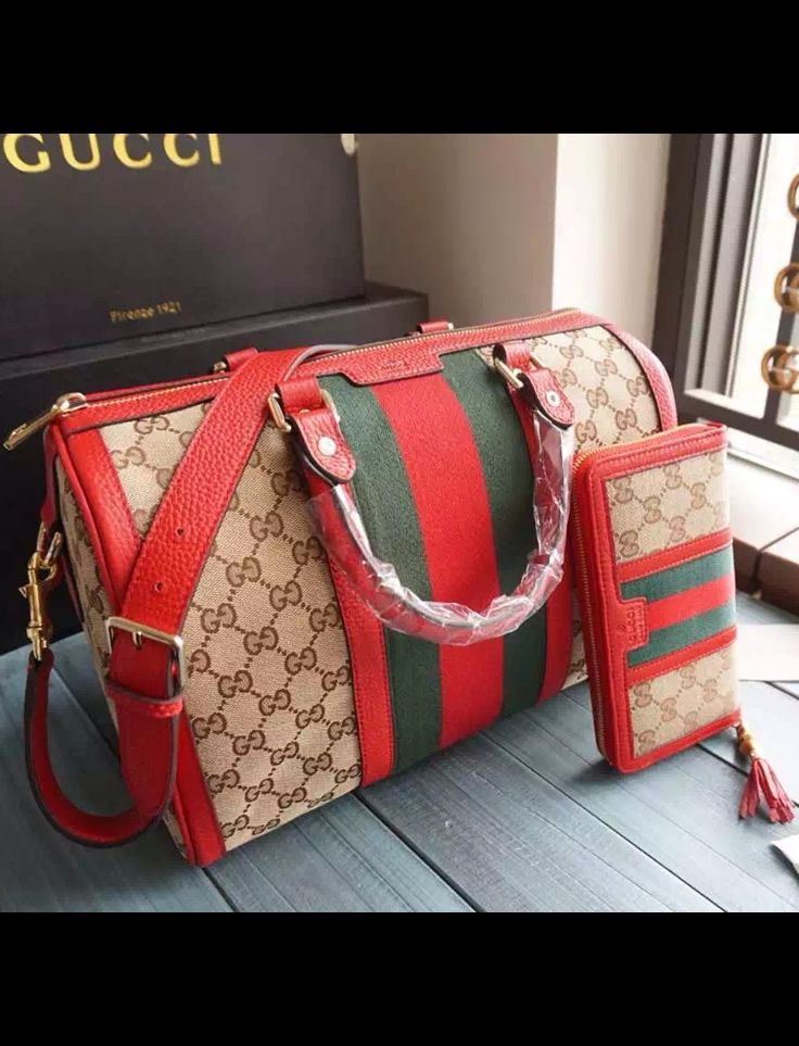 Gucci Vintage Web Original GG Canvas Boston Bag Red is the most valued bag integ...