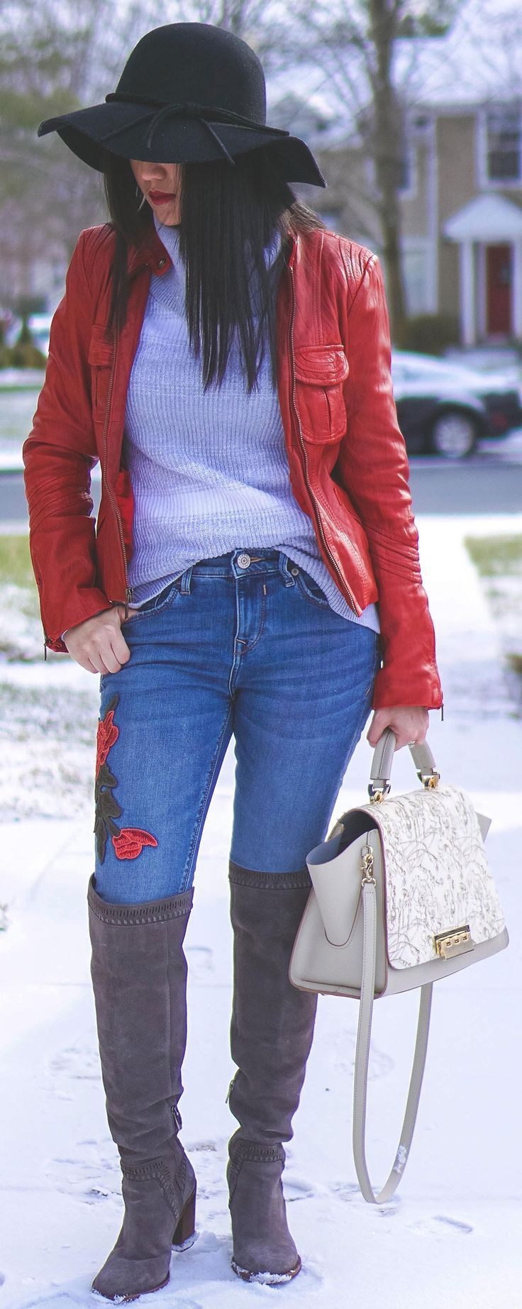How To Wear Embroidered Jeans In Winter