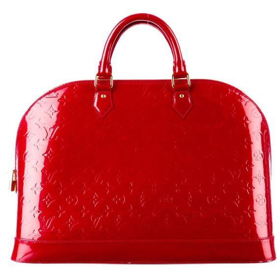 Pre-owned Louis Vuitton Vernis Alma GM , red leather purse, louis vuitton, monog...