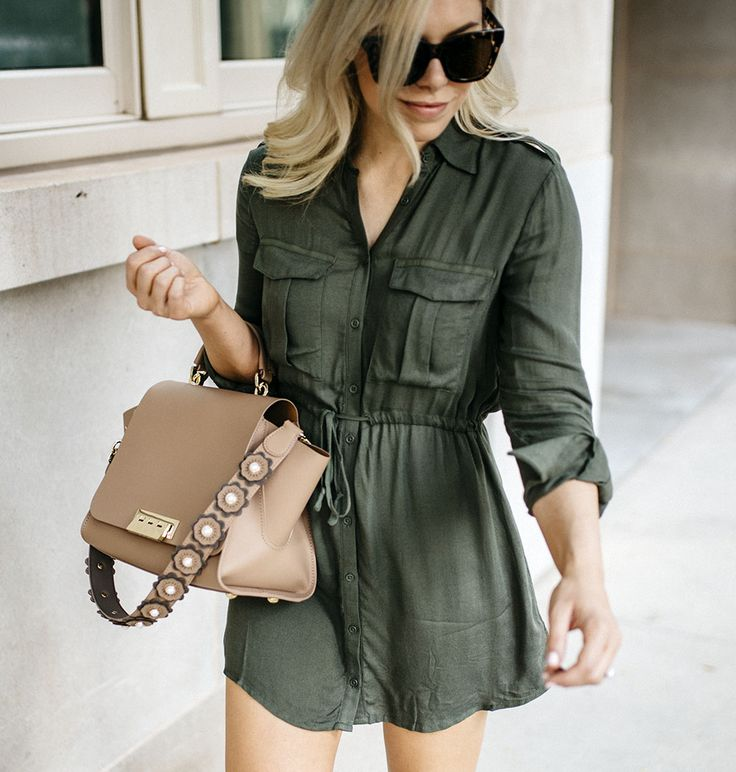 styling an olive green shirt dress... two ways