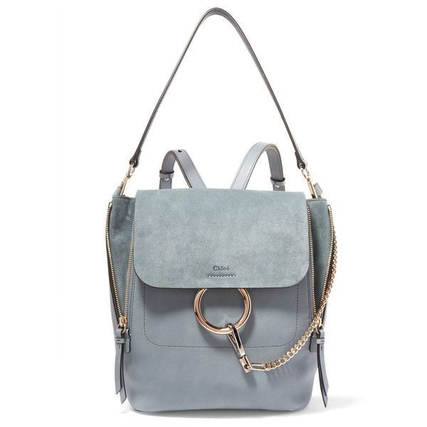 ChloéFaye Medium Leather And Suede Backpack (€2.225) via Polyvore featuring b...