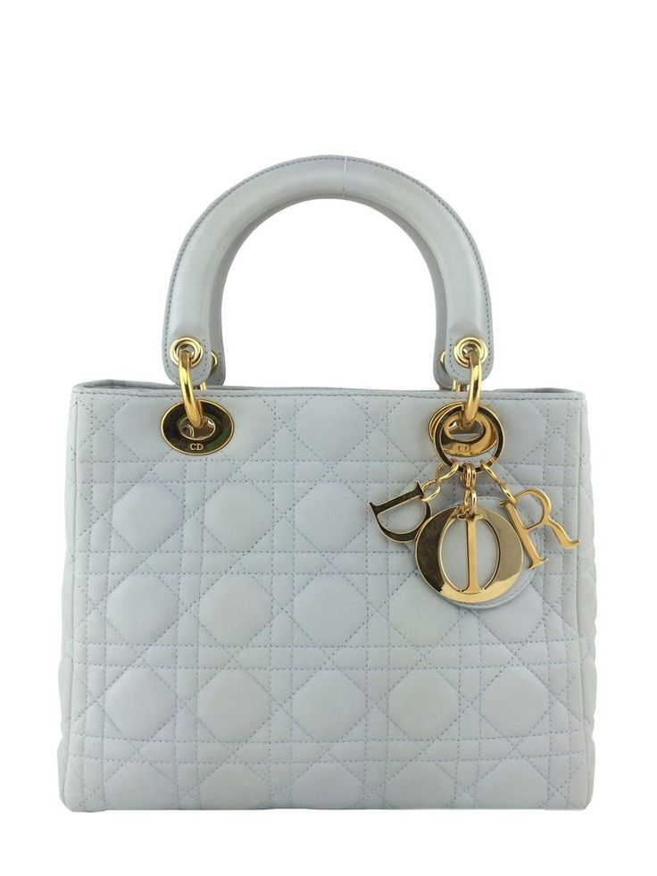 Christian Dior Cannage Quilted Lambskin Leather Medium Lady Dior Bag Ivory - Con...
