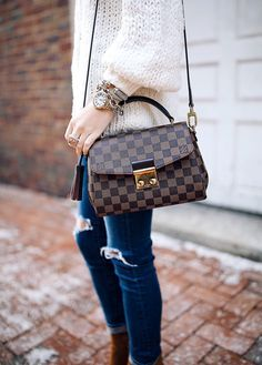 Chunky beanie , Free People pullover, AG jeans // Joie booties // Louis Vuitton ...