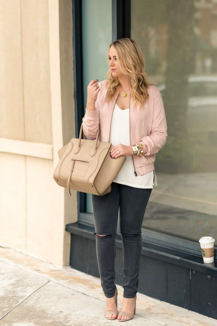 Cute Faux Suede Blush Bomber Jacket under $50. White tee+black ripped denim+beig...