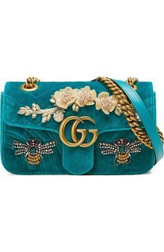Free shipping and returns on Gucci Mini GG Marmont Matelassé Velvet Shoulder Ba...