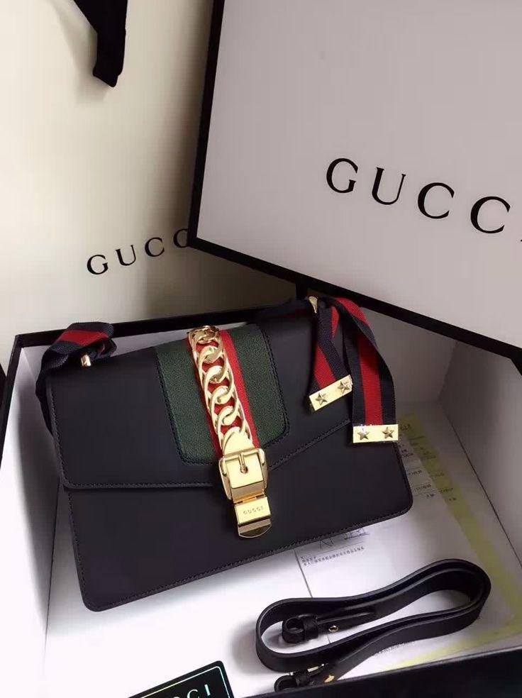 Gucci Sylvie Leather Shoulder Bag Black.  Find more Gucci handbags at www.luxtim...