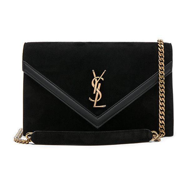 Saint Laurent Suede & Leather Monogramme Le Sept Envelope Bag ($2,000) ❤️ li...